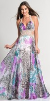 Dave and Johnny Exotic Watercolor Print Prom Dress