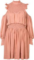 Cinq A Sept - cut-out shoulders gathered dress - women - Silk/Polyester - 0