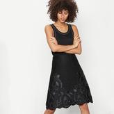 Maje Honeycomb knit embroidered midi skirt