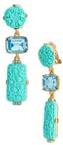 Oscar de la Renta Women's Carved Resin & Swarovski Crystal Clip Earrings