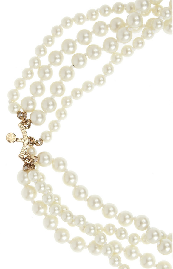 Kenneth Jay Lane Faux pearl, crystal and cabochon necklace
