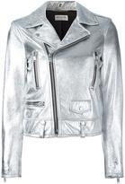 Saint Laurent metallic biker jacket - women - Cotton/Lamb Skin/Cupro - 38