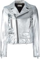 Saint Laurent metallic biker jacket - women - Cotton/Lamb Skin/Cupro - 40
