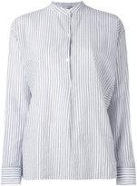 Vince mandarin neck striped shirt - women - Cotton - S
