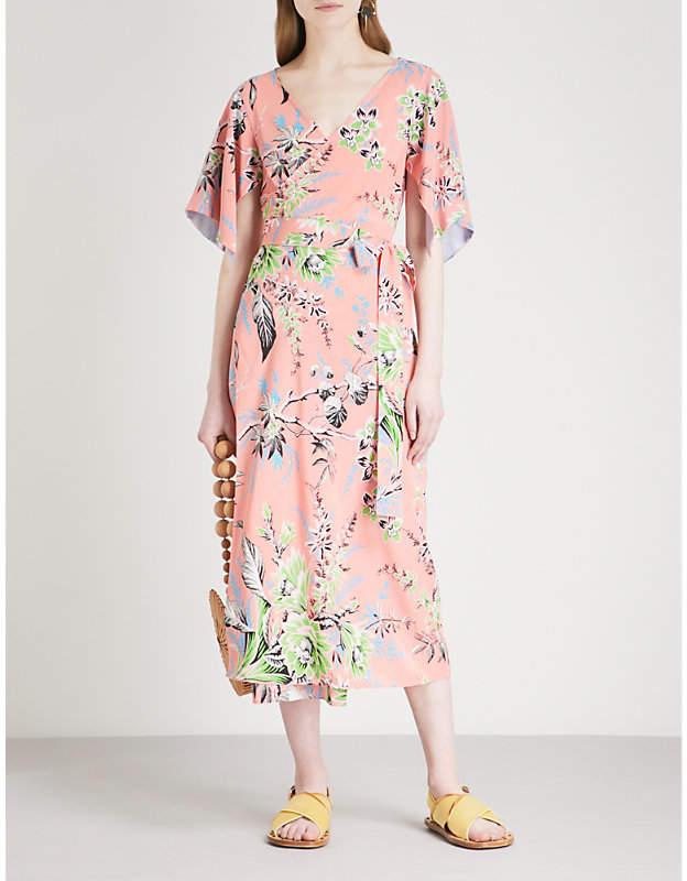 Diane von Furstenberg Floral-print silk-crepe midi wrap dress