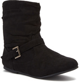 Black Slouchy Side Buckle Boot