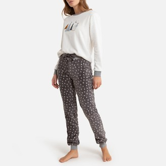 La Redoute Collections Fleece Pyjamas with Embroidered Top
