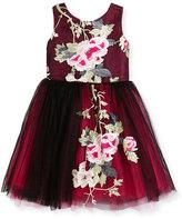 Zoë Ltd Sleeveless Floral Embroidered Tulle Dress, Black, Size 7-16