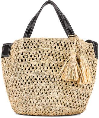 Stella McCartney Ajouree Raffia Bucket Bag in Light Sand | FWRD