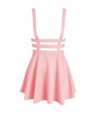 Lalala Women's Sexy Pleated Suspender Skirt Mini Skater Dress[Pink M]