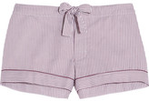 Bodas Verbier Striped Swiss Cotton Pajama Shorts - Merlot