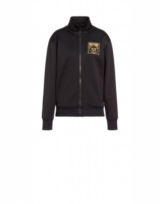 Moschino Gold Teddy Label Jersey Sweatshirt Woman Black Size 38 It - (4 Us)