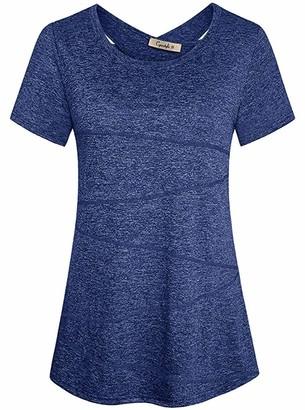 Cyanstyle Womens Cross Back Yoga Shirt Activewear Workout Clothes Racerback Blouse Top Blue XL