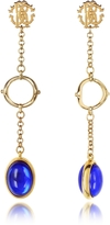 Roberto Cavalli RC Line Gold Tone Earrings w/Deep Blue Stone