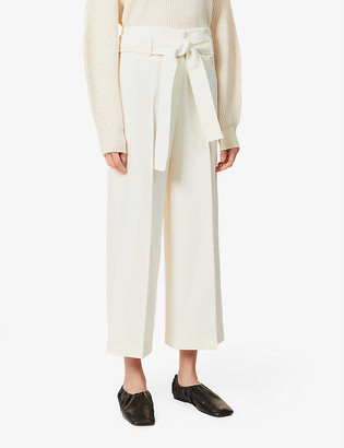 Theory High-rise wide-leg crepe trousers