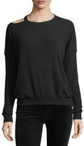 Splendid Melange Sylvie Rib-Knit Sweater w/ Cutout