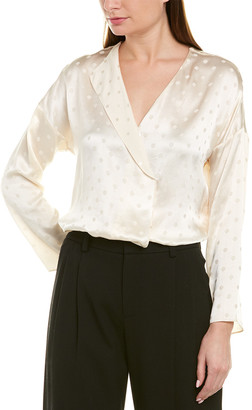 Vince Halo Dot Drape Panel Silk Blouse