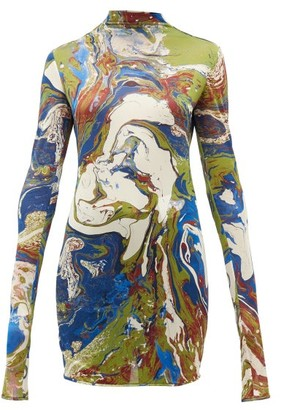 Jil Sander Marble-print Silk-jersey Top - Womens - Blue Multi