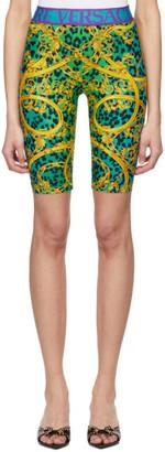 Versace Green and Gold Leopard Print Barocco Bike Shorts