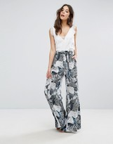 French Connection Lala Palm Print Flared Pants