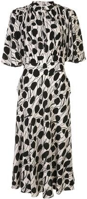 La DoubleJ Flared Abstract-Print Silk Dress
