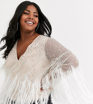 Asos DESIGN Curve long sleeve embellished top with faux feather trim-Pink