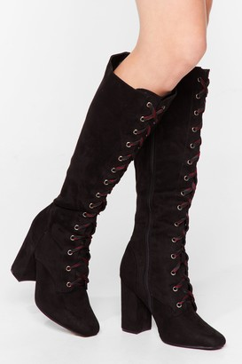 Nasty Gal Womens Lace-Up the Ante Faux Suede Knee High Boots - Black - 5, Black