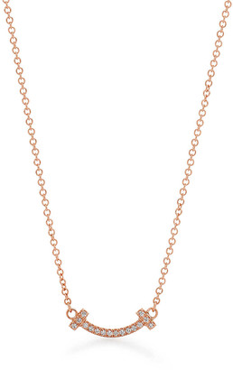 Tiffany & Co. T smile pendant in 18ct rose gold with diamonds, micro