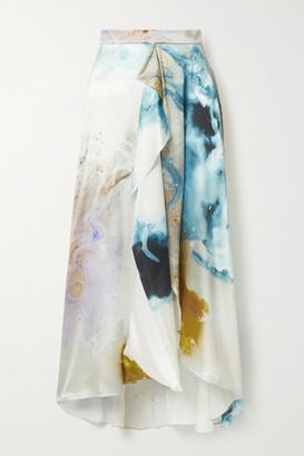 Roksanda Zinja Asymmetric Draped Printed Silk-satin Skirt - Ivory