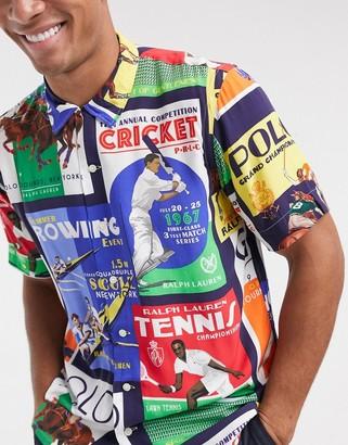 Polo Ralph Lauren short sleeve stadium poster print cuban collar shirt custom regular fit in multi