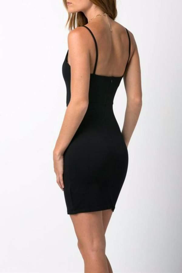 Solemio Deep V Bodycon Dress