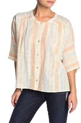 Love Stitch Washed Stripe Button Down Top