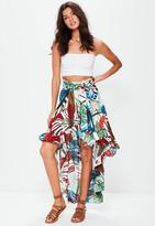 Missguided Dipped Hem Floral Print Maxi Skirt