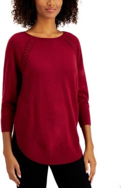 Style&Co. Style & Co Petite Braided Lace-Up Tunic, Created for Macy's