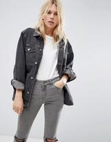 Asos Denim Girlfriend Jacket in Washed Black