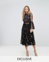 Lace and Beads Lace & Beads Midi Skirt in 3D Embellishment