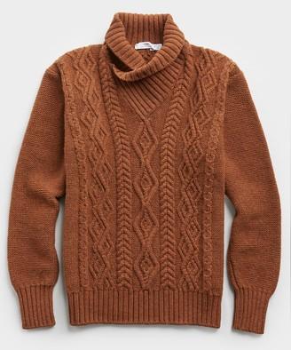 Inis Meáin Bracken Shawl Collar Wool Sweater in Rust