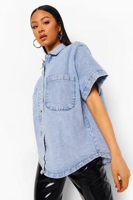 boohoo Vintage Oversized Short Sleeve Denim Shirt