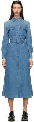 Chloé Blue Denim Shirt Long Dress