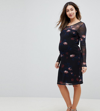 Mama Licious Mama.Licious Mamalicious sheer double layer floral midi dress