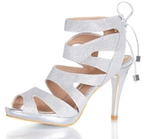 Quiz Silver Shimmer Cage Lace Back Sandals