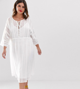 Asos DESIGN Curve lace insert midi dress with lace up front-White