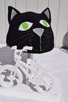 The Happy Headbangers Club Child's Black Cat With Green Eyes Hi Vis Helmet Cover