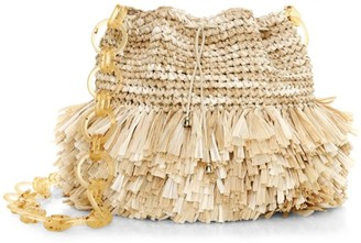 Carolina Santo Domingo Corallina Raffia Drawstring Bucket Bag