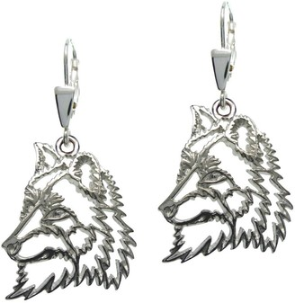 HH H&H 7000571 Women's Pull Through Earrings Silver Paws Wolf 925 Silver Rhodium-Plated 2 cm