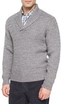 Peter Millar Shawl-Collar Cable-Knit Pullover Sweater, Charcoal
