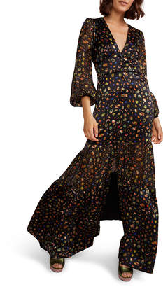 Cynthia Rowley Caroline Printed Long-Sleeve Tiered Maxi Dress