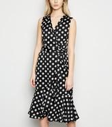New Look Mela Polka Dot Satin Midi Wrap Dress