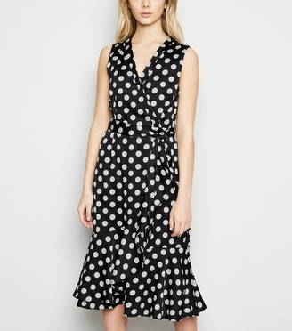 New Look Mela Polka Dot Satin Midi Wrap Dress