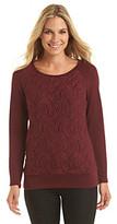 Amy Byer Lace Trim Solid Knit Top